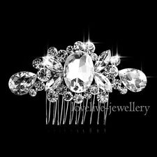 Silver Bridal Wedding Waterdrop Gem Hair Comb Clip Diamante Crystal Rhinestone