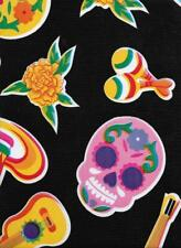 Fiesta Day Dead ReTrO Rockabilly Oilcloth Fabric Tablecloth Cloth Skull Mexico