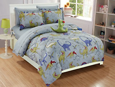Linen Plus Twin Size 6pc Comforter Set for Boys Dinosaur Grey Blue Red New