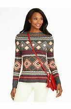 Talbots diamond argyle soft lambs wool sweater, cute w skirt jeans, medium 8 10