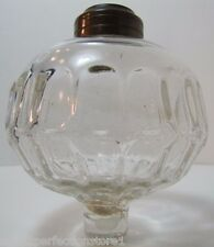 Antique Glass Thumb Print Oil Lamp Insert Peg Light Pot Part brass top fitting