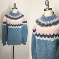 Vintage 80s Danspun Fair Isle Wool Pullover Sweater Size Medium