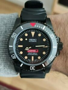 Seiko Nh35 custom modified vintage diver style automatic watch, all black.