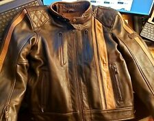 GENUINE TRIUMPH BROWN MOTORCYCLE  LEATHER JACKET SIZE MEDIUM