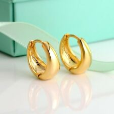 Women's Smooth Hoop Earrings 24k Yellow Gold Filled 15MM GF Charms Jewelry