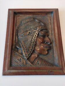 Flores Arias Wood Carving Plaque Aymara Man