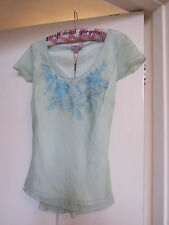 Green & Blue Floral Embroidered Silk Monsoon Top with Beads Size 12 - imperfect