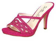 Strappy Shimmer Glitter Sandal Platform Heels Slide On Bridal Wedding