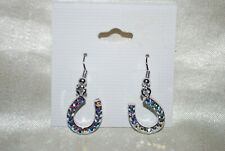 Blue Crystals Cowgirl Western Rodeo Horseshoe Dangle Earrings Light Ice