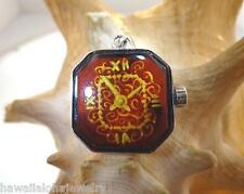 925 Silver Genuine Baltic Cognac Amber Intaglio Cameo Watch Clock Pendant #63