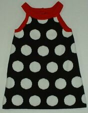 Gymboree Winter Penguin Holiday Black White Dots Red Trim Sweater Strap Dress 12