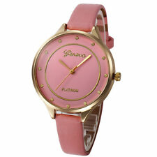 Ladies Fashion Geneva Platinum Quartz Gold Case Pink Slim Band Wrist Watch.