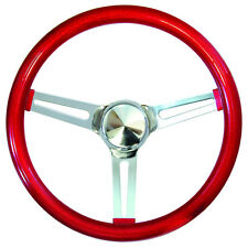 "15"" Mooneyes California 3-Spoke Slot Steering Wheel Red Metal Flake GS270CMRD"