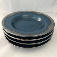 Certified International Embassy Teal Blue Set of 4 Rimmed Soup Bowls Karidesign