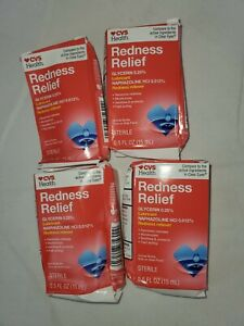 4 PK CVS Health Redness Relief Eye Drops, 0.5 OZ, EXP:07/22 Box Damaged