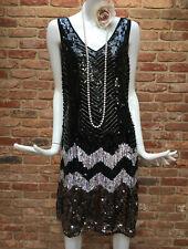 Oasis Vintage Black Flapper 1920s Gatsby Heavy Sequin Dress Size 14 EUR 40