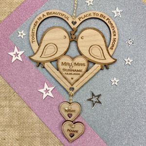 Personalised Wedding Gifts Love Birds Wooden Keepsake Mr & Mrs Mr & Mr Mrs & Mrs
