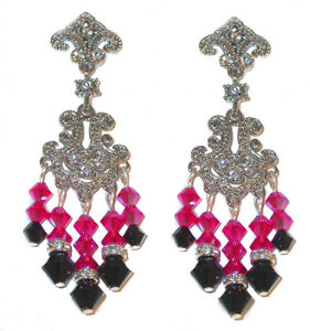 HOT PINK JET BLACK Crystal Chandelier Earrings Swarovski Elements Silver