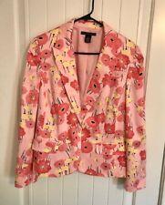 Apostrophe Stretch Women's Floral Jacket Blazer Shoulder Pads Pink Size 16