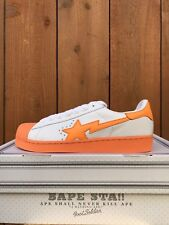 3a9f71d1b0b1 A Bathing Ape Bape Sta Foot Soldier Men s Sz 10 White  Orange Leather