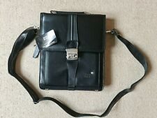 BNWT *MONT BLANC* Meisterstuck *Lockable* Black Leather Shoulder Messenger Bag