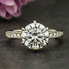 2.3 Carats Round Cut Moissanite Engagement Ring in 9k Solid White Gold