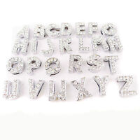 26PCS Alphabet Letter A-Z Slider Rhinestone Beads For 8mm/10mm Cord DIY Crafts