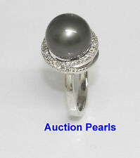 Tahitische Diamant Perle Ring 18kt Weiss Gold 11mm AAA Schwarz
