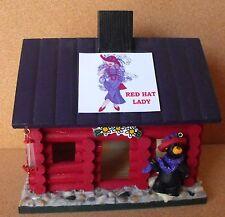 Big Sky Carver Red Hat  Ladies Wood Bird House