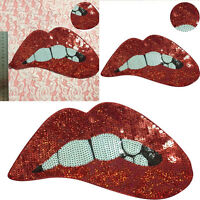 Embroidered Red sequins Lips Iron On Patches for clothing DIY Motif Applique