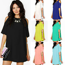 Womens Cold Shoulder Mini Dress Chiffon Summer Evening Party Tops Shirt Blouse