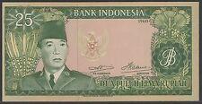 Indonesia 25 Rupiah 1960 Soekarno, UNC, Pick 84b  / H-269d