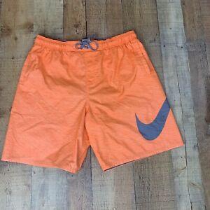 Men's Nike Swim Trunks Orange with Gray Swoosh Size XL