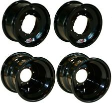 KFX450 FRONT REAR WHEEL BLACK 10x5 10x8 WHEELS 4x 156 144 115 110 ROLLED EDGE