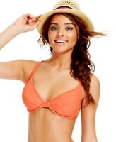 Hula Honey Underwire D-Cup Bikini Top Coral Size Juniors