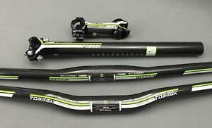 TOSEEK MTB Full Carbon Bike Flat/Riser Bar 31.8mm Handlebar 7° Stem Seatpost Set