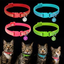 """Sequins Nylon Cat Collar with Bell Adjustable Kitten Walking Collar with 8-11.5"""""""
