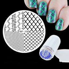 Manicure Template Wave Nail Art Image Stamp Stencil Plate Scraper Stamper Kit