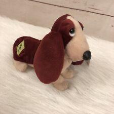 Applause Hush Puppies Basset Hound Dog Plush Toy Stuffed Animal Beanie Pink