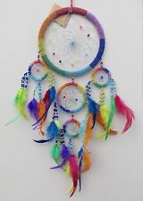 DREAM CATCHER - Beautiful Rainbow Beaded 16.5cm Circle with Silver Webbing