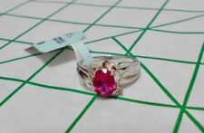 Sterling Silver Ruby and Diamond Ring Size 7 - $140 Value - Women's New with tag