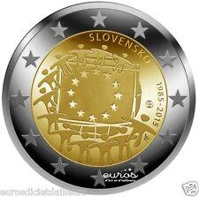 """Pièce 2 euros SLOVAQUIE 2015 - """"30ème anniversaire du drapeau européen"""" UNC"""