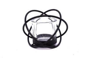 Matt Black Metal Eternity Sphere Glass Candle Contemporary Decor Ornament