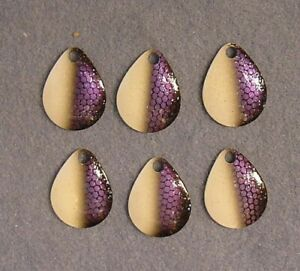 6 -Worth Mfg #3 Custom Paint ~White Purple Shad~ Willow Leaf Spinnerbait Blades