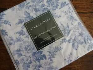 LAURA ASHLEY Vanessa BLUE White COTTAGE FLORAL Cotton QUEEN SHEET Set 4PC