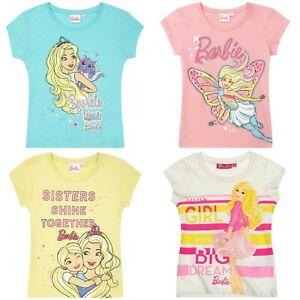 Girls Kids Children Barbie Short Sleeve T-shirt Tee Tshirt Top Age 2-8 years