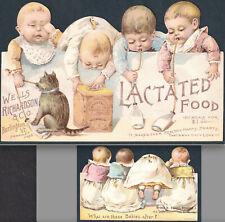 Infant Nurser Baby Bottle Lactated Food Wells Richardson Tin Die-Cut Trade Card