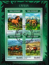 chevaux FEUILLET CTO 4 Timbres 2014 Mozambique Mountains