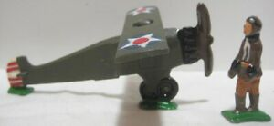 Old Lead 2 pc Military Airplane + Soldier Aviator - unmarked
