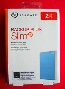 Seagate Backup Plus Slim 2TB USB External Hard Drive BLUE STHN2000402 NEW